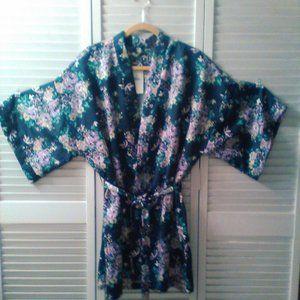 Cotton on Body New Women's Blue Floral Kimono Robe